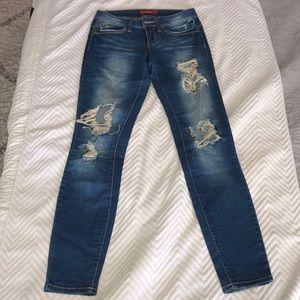 Dark Denim Skinny Ripped Jeans